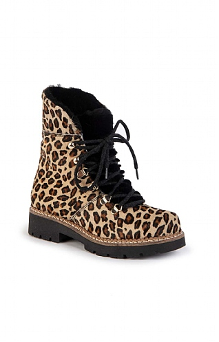 Leather Leopard Lace Up Boot