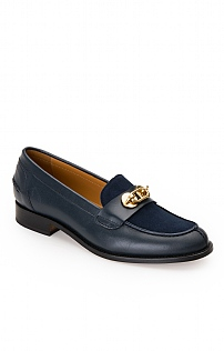 Leather Gold Clasp Loafer
