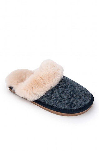 Ladies Shetland Tweed Mule Slippers