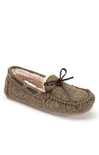 Ladies Shetland Tweed Moccasin Slippers