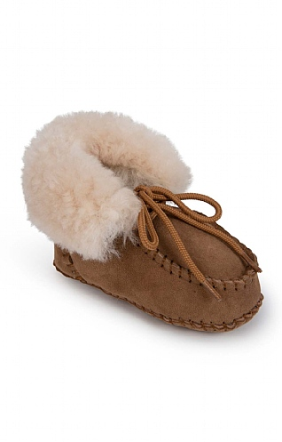Toddler Sheepskin Lace Slippers