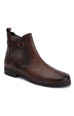 Gabor Check Insert Leather Chelsea Boot