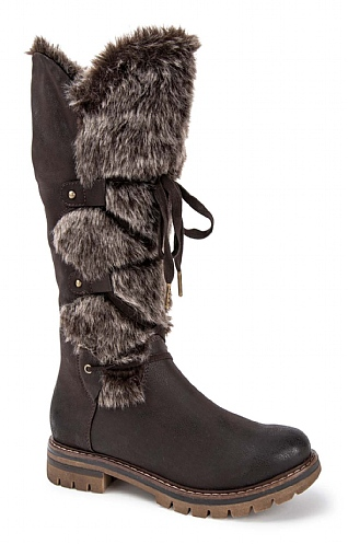 Marco Tozzi Long Lace Round/Fur Boot
