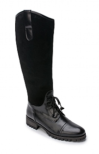 Suede Leather Lace Front Boot