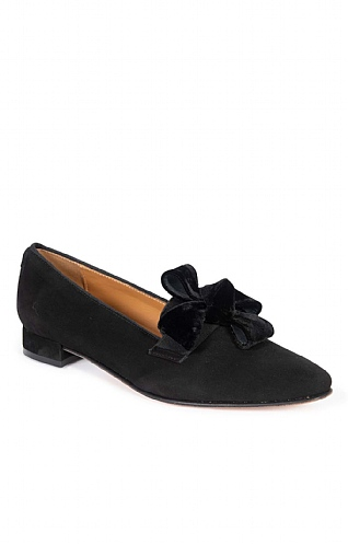 Ladies Suede Slipper with Bow