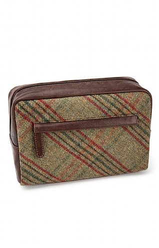 Tweed and Leather Washbag