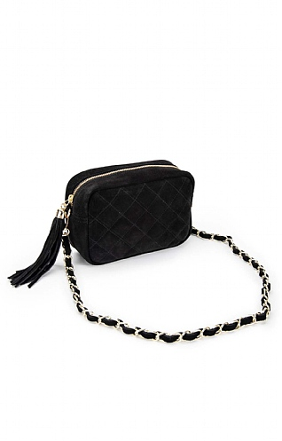 Quilted Chain Handle Suede Bag