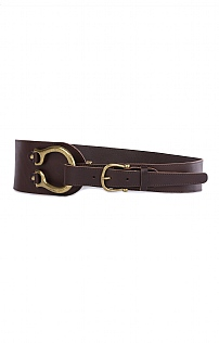 Leather & Brass Stirrup/Buckle Belt