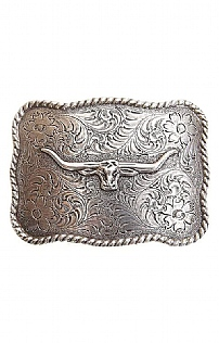 R.M. Williams Longhorn Rope Edge Floral Buckle