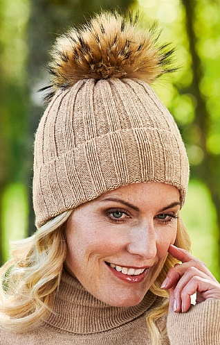 Ladies Cashmere & Silk Fox Fur Pompom Hat