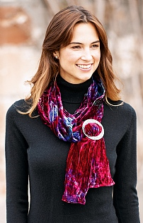 Silk Velvet Wrap With Pewter Scarf Ring