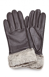 Ladies Fur Trim Leather Gloves
