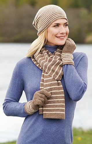 Striped Cashmere Gloves