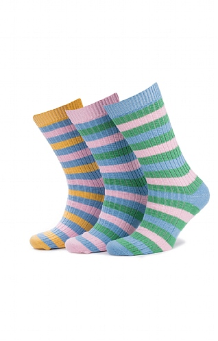 Mens Cotton Pastels Multi Stripe Sock Pack