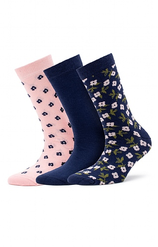 Barbour Floral/Plain Sock Gift Set