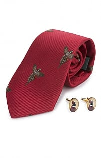 Flying Pheasant Silk Tie and Cufflinks