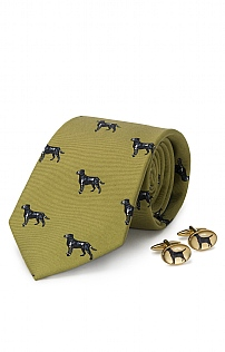 Black Labrador Cufflink and Tie Set