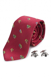 Fish and Reel Silk Tie and Cufflinks