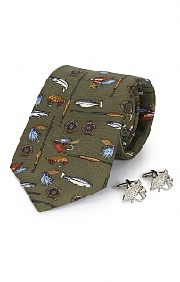 Salmon Fly Cufflink and Tie Set