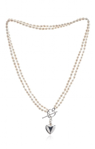 Pearls of the Orient Double Strand Heart Toggle Necklace