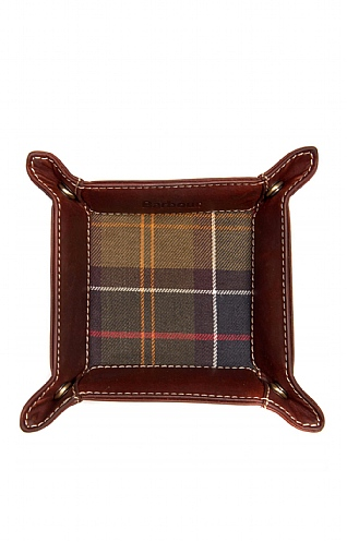 Barbour Tartan & Leather Valet Tray