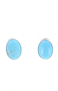 Brave Designs Turquoise Large Oval Stud