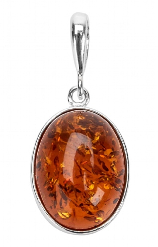 Silver and Amber Oval Pendant