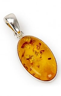 Amber and Silver Pendant