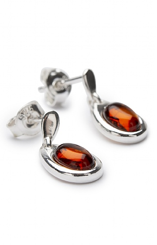 Amber and Silver Drop Earrings