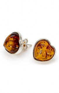 Small Silver and Amber Heart Earrings