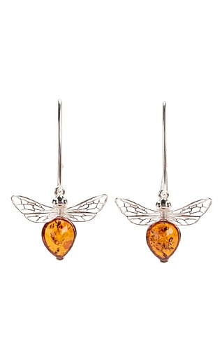 Silver and Amber Bee Drop Earrings