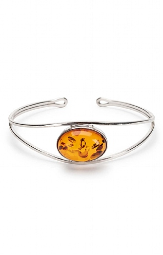 Silver and Amber Oval Bangle