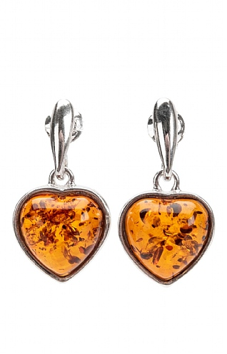 Silver and Amber Heart Drop Earrings