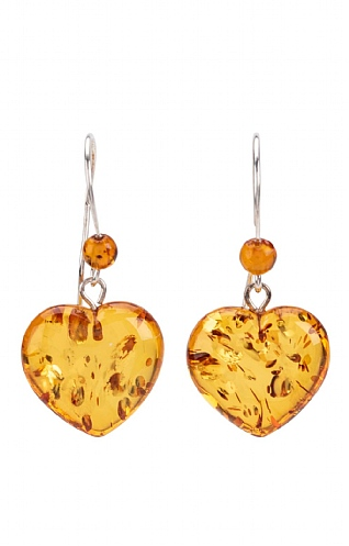Silver and Amber Solid Heart Drop Earrings