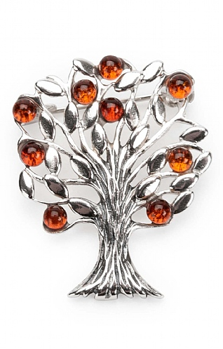 Silver and Amber Tree of Life Brooch
