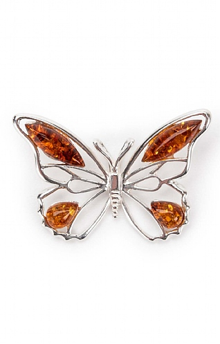 Silver and Amber Butterfly Pendant