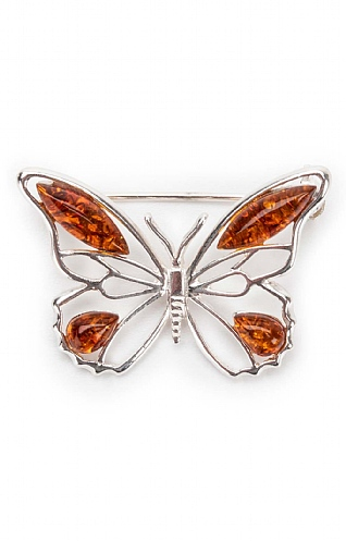 Silver and Amber Butterfly Brooch