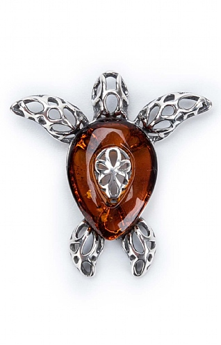 Silver and Amber Turtle Pendant