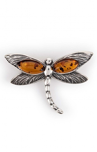 Silver and Amber Dragonfly Pendant