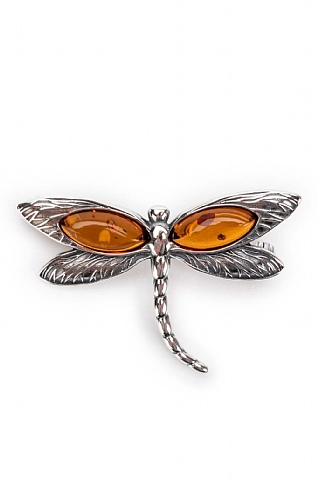 Silver and Amber Dragonfly Brooch