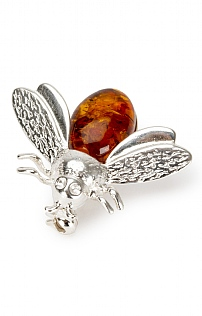 Silver and Amber Bee Brooch