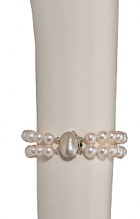 Two Strand White Pearl Bracelet