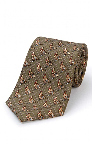 Grouse Printed Silk Tie