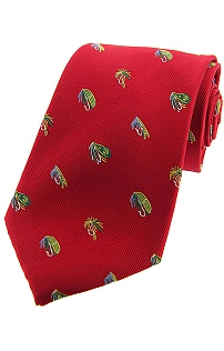 Silk Country Tie with Fishing Fly Design
