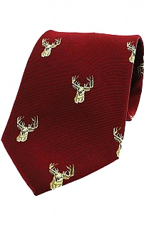 Stags Head Woven Silk Tie
