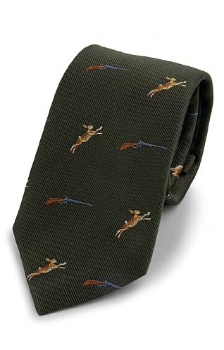 Leaping Hare Woven Silk Tie