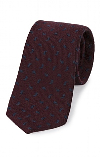 Italian Printed Silk/Wool Small Paisley Tie