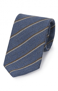 Italian Printed Silk/Wool Stripe Tie
