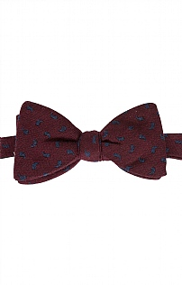 Italian Printed Silk/Wool Small Paisley Bow Tie