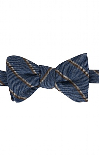 Italian Printed Silk/Wool Stripe Bow Tie